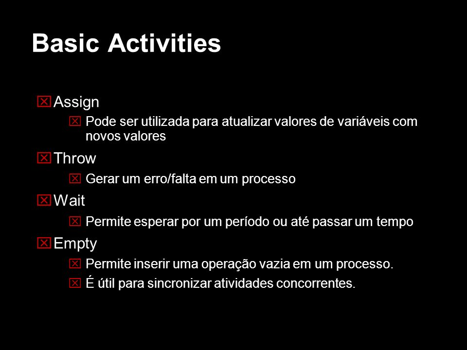 Basic Activities Assign Throw Wait Empty