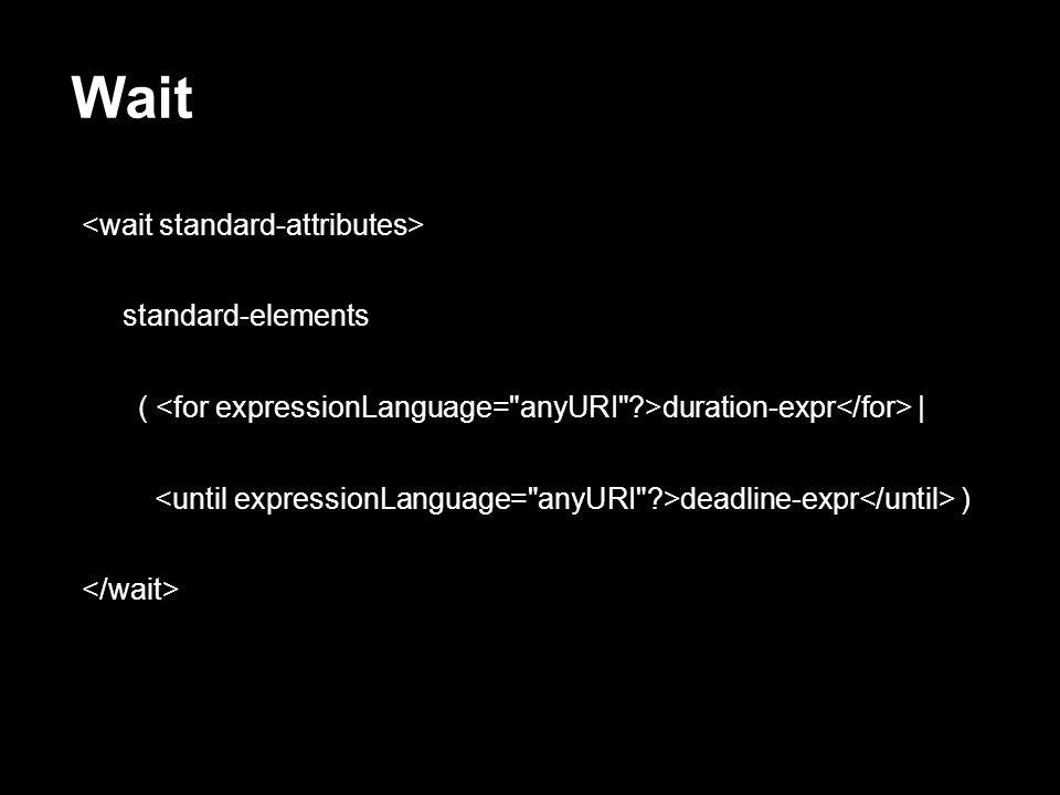 Wait <wait standard-attributes> standard-elements