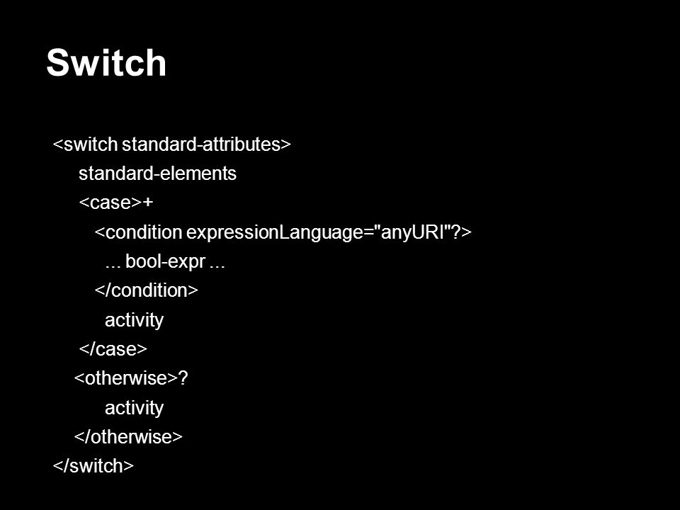 Switch <switch standard-attributes> standard-elements