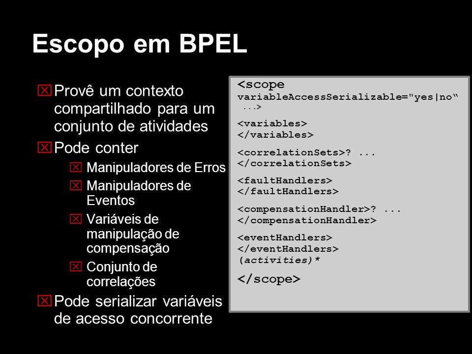 Escopo em BPEL Provê um contexto compartilhado para um conjunto de atividades. Pode conter. Manipuladores de Erros.