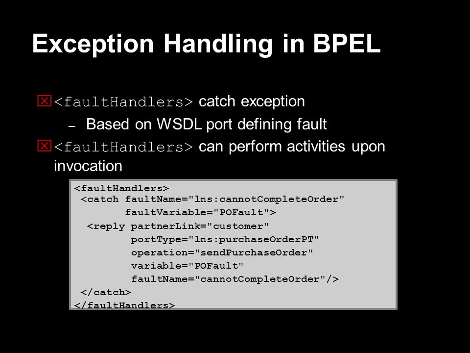 Exception Handling in BPEL