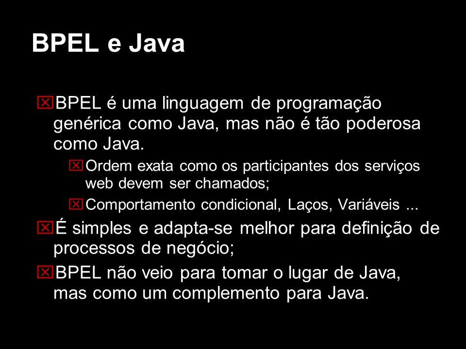 BPEL e Java BPEL é uma linguagem de programação genérica como Java, mas não é tão poderosa como Java.