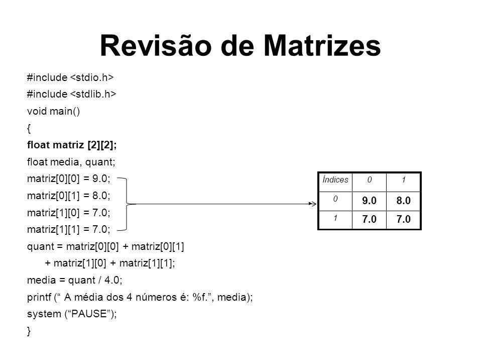 Revisão de Matrizes #include <stdio.h> #include <stdlib.h>