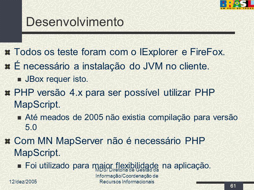Desenvolvimento Todos os teste foram com o IExplorer e FireFox.