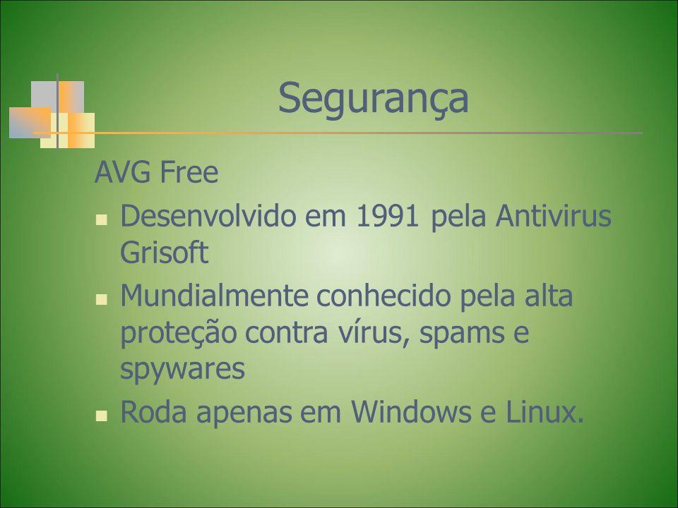 Segurança AVG Free Desenvolvido em 1991 pela Antivirus Grisoft