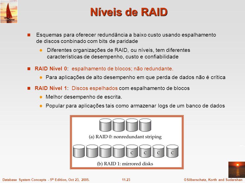 Níveis de RAID Esquemas para oferecer redundância a baixo custo usando espalhamento de discos conbinado com bits de paridade.