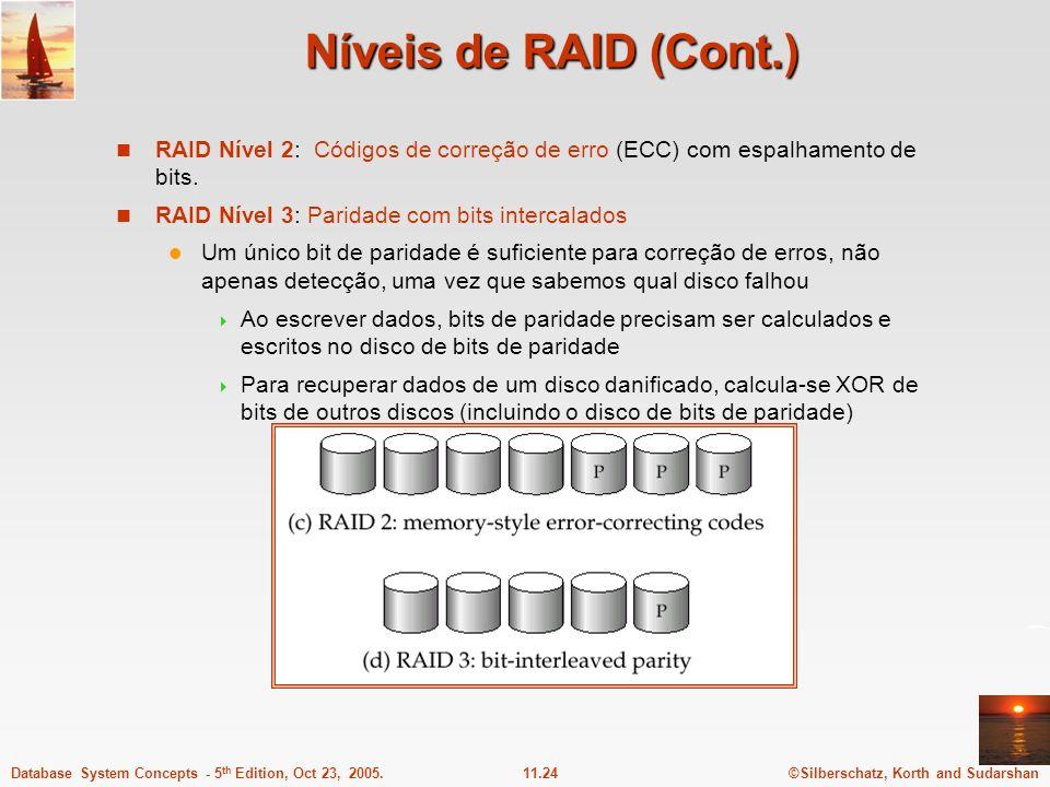 Níveis de RAID (Cont.) RAID Nível 2: Códigos de correção de erro (ECC) com espalhamento de bits. RAID Nível 3: Paridade com bits intercalados.