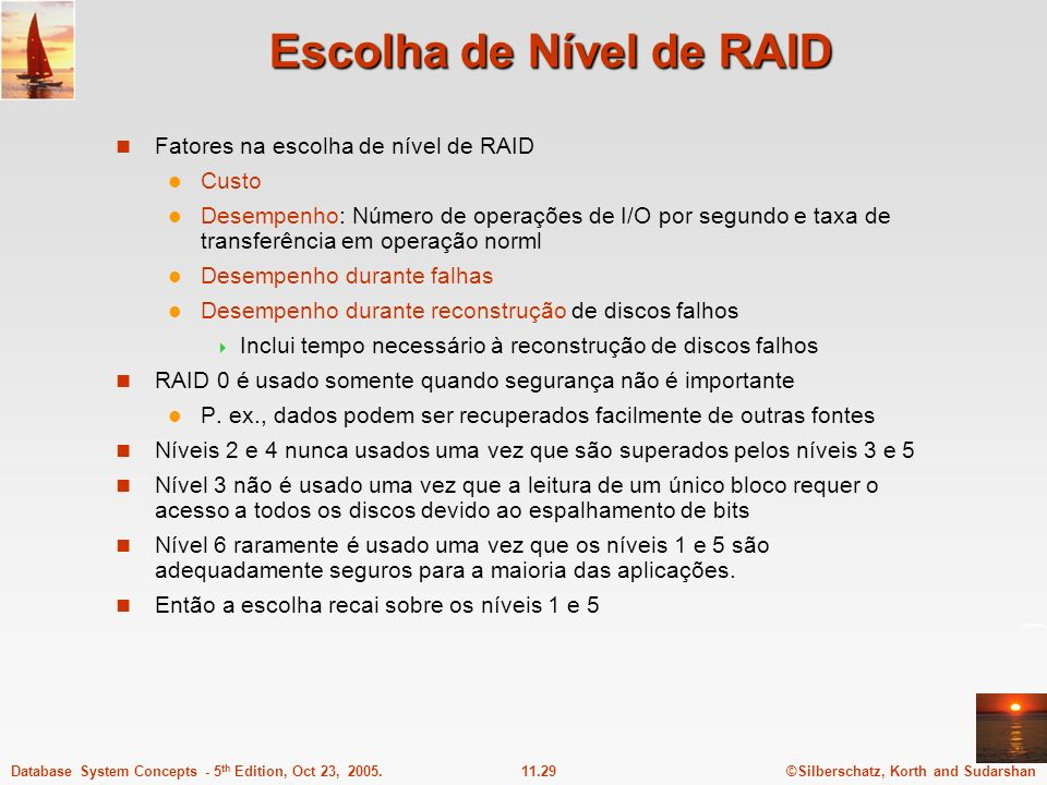 Escolha de Nível de RAID