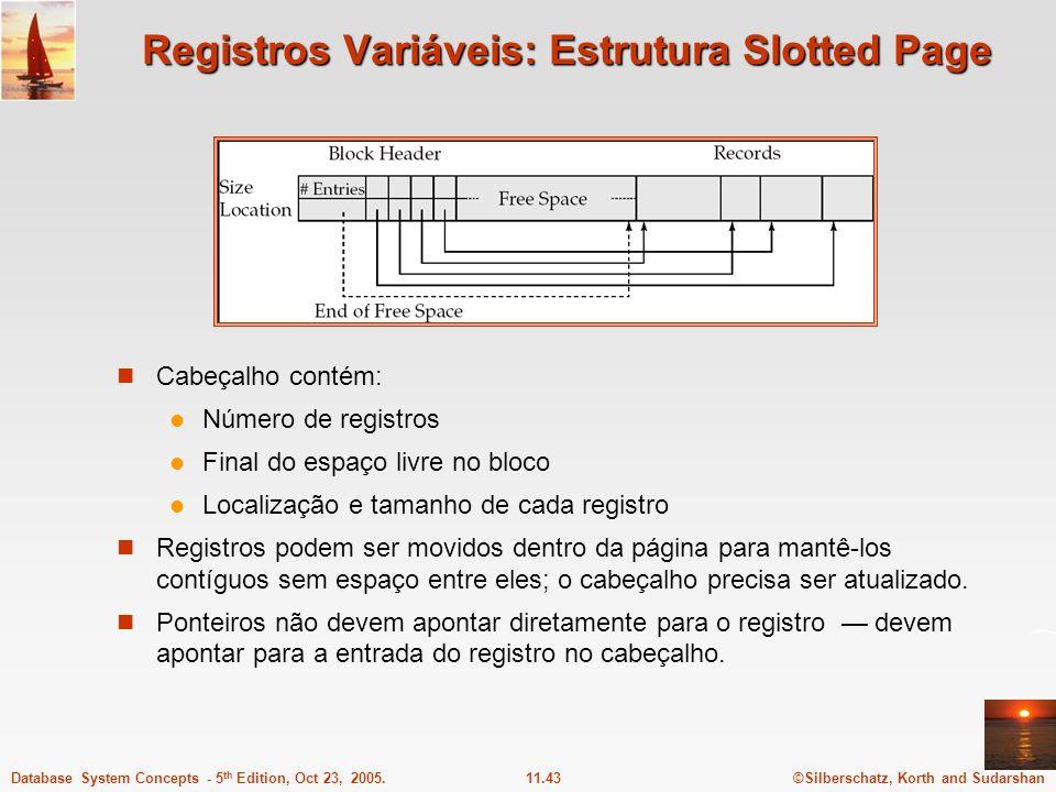 Registros Variáveis: Estrutura Slotted Page