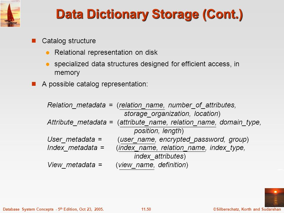Data Dictionary Storage (Cont.)