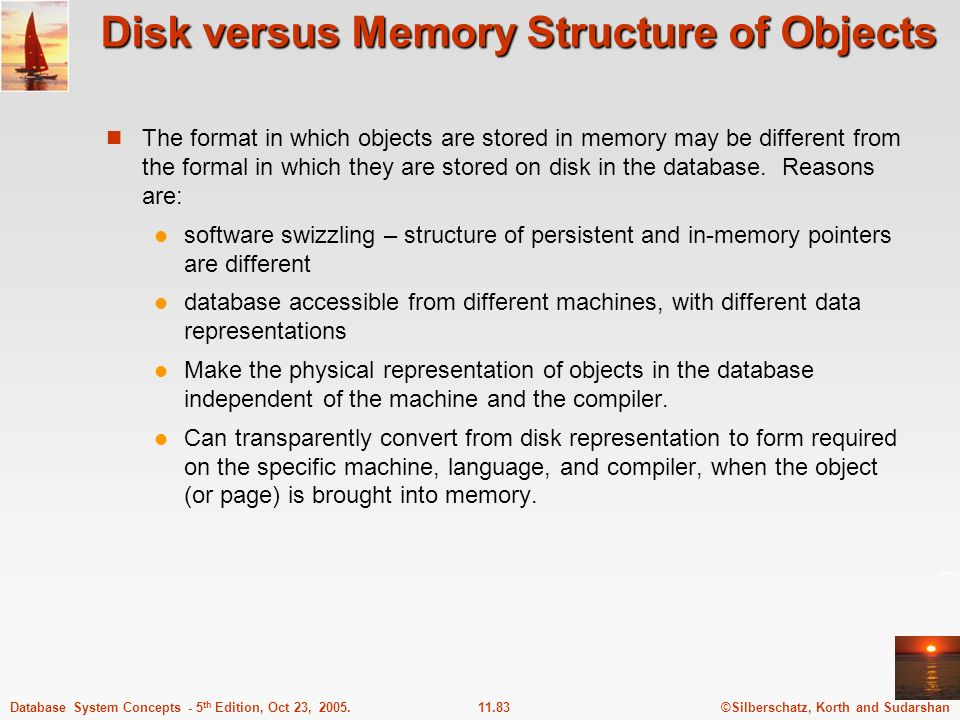Disk versus Memory Structure of Objects