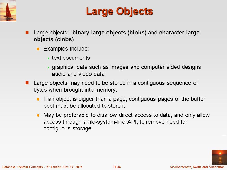 Large Objects Large objects : binary large objects (blobs) and character large objects (clobs) Examples include: