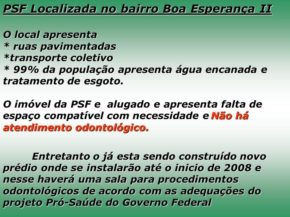 PSF Localizada no bairro Boa Esperança II