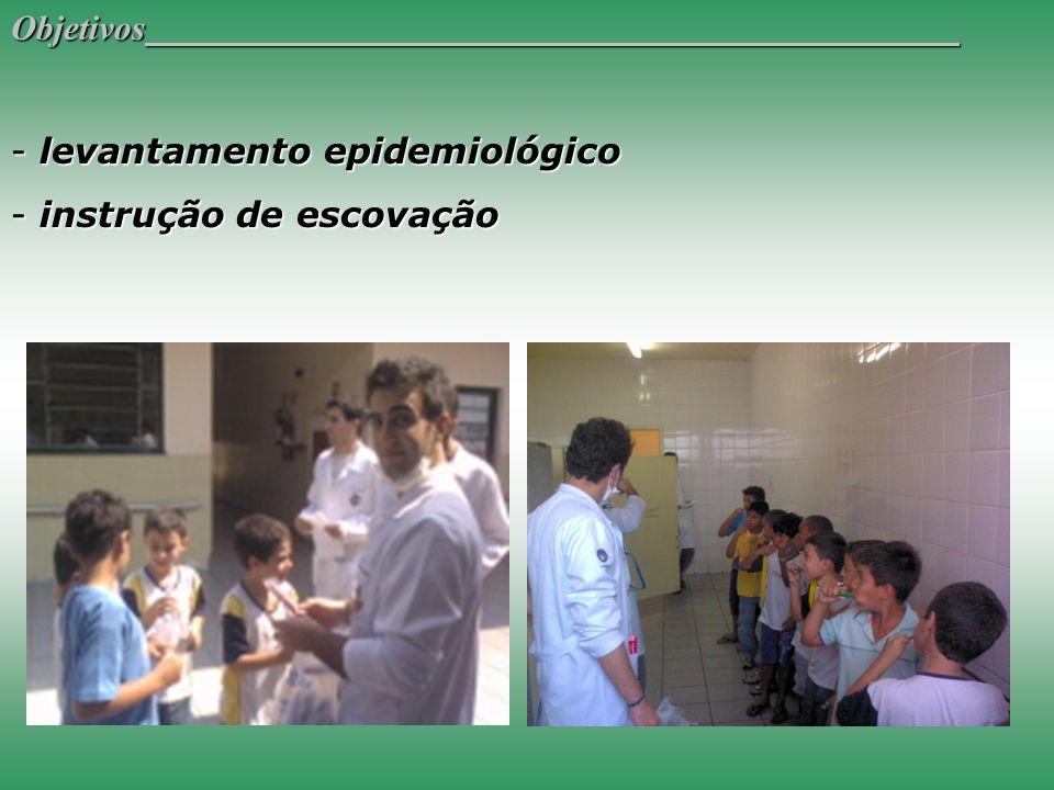 Objetivos levantamento epidemiológico instrução de escovação