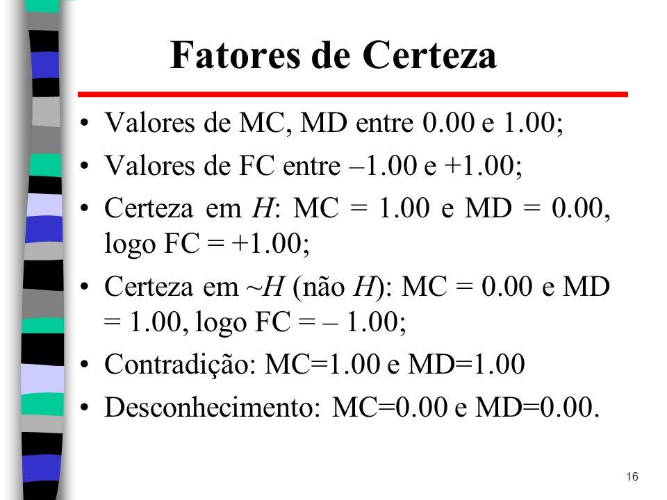 Fatores de Certeza Valores de MC, MD entre 0.00 e 1.00;