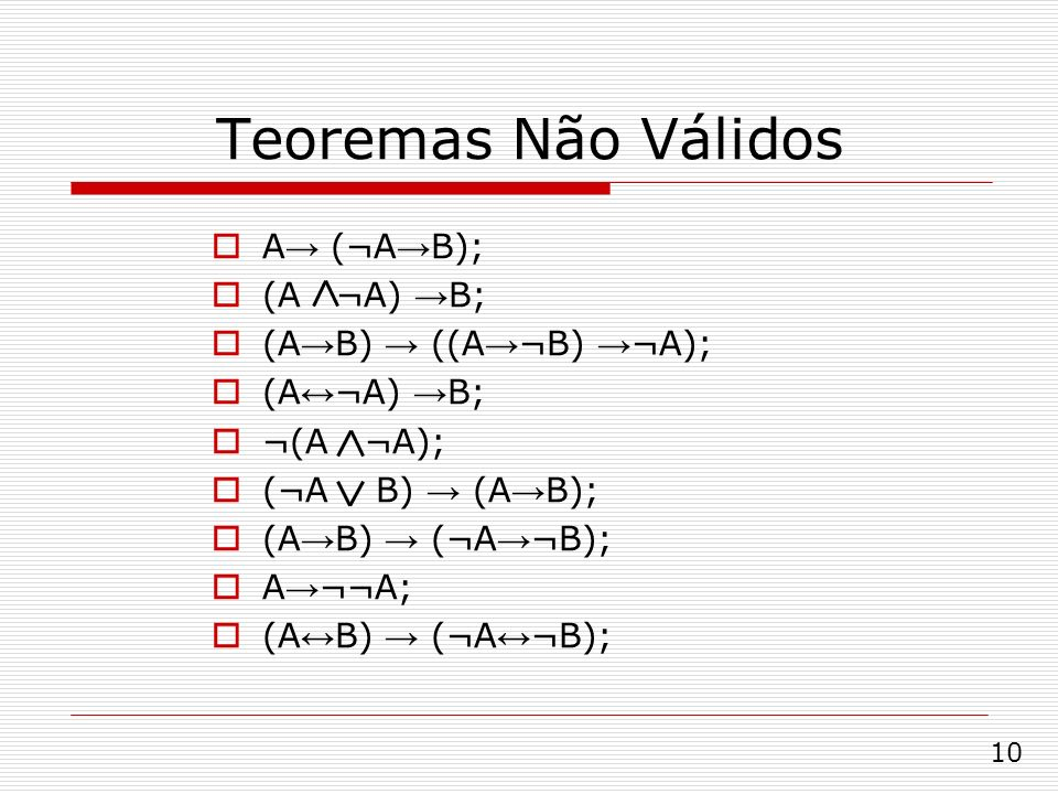 Teoremas Não Válidos A→ (¬A→B); (A ¬A) →B; (A→B) → ((A→¬B) →¬A);