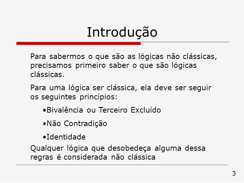 Introdução Para sabermos o que são as lógicas não clássicas, precisamos primeiro saber o que são lógicas clássicas.