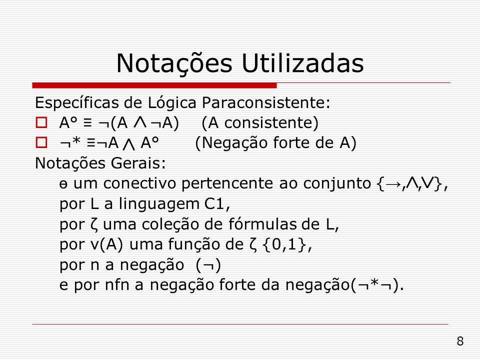 Notações Utilizadas Específicas de Lógica Paraconsistente: