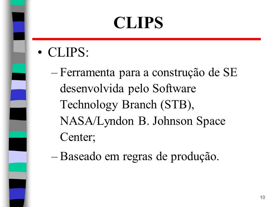 CLIPSCLIPS: Ferramenta para a construção de SE desenvolvida pelo Software Technology Branch (STB), NASA/Lyndon B. Johnson Space Center;