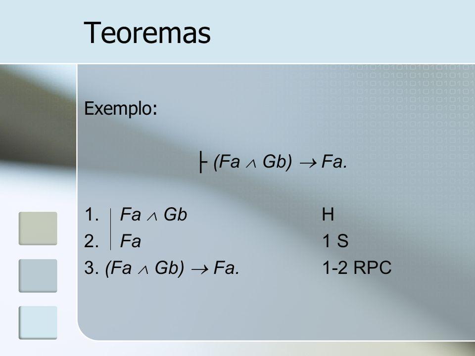 Teoremas Exemplo: ├ (Fa  Gb)  Fa. 1. Fa  Gb H 2. Fa 1 S
