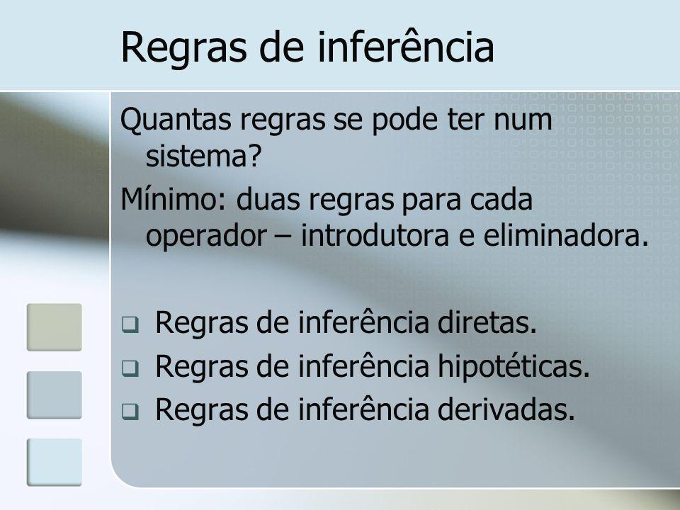 Regras de inferência Quantas regras se pode ter num sistema