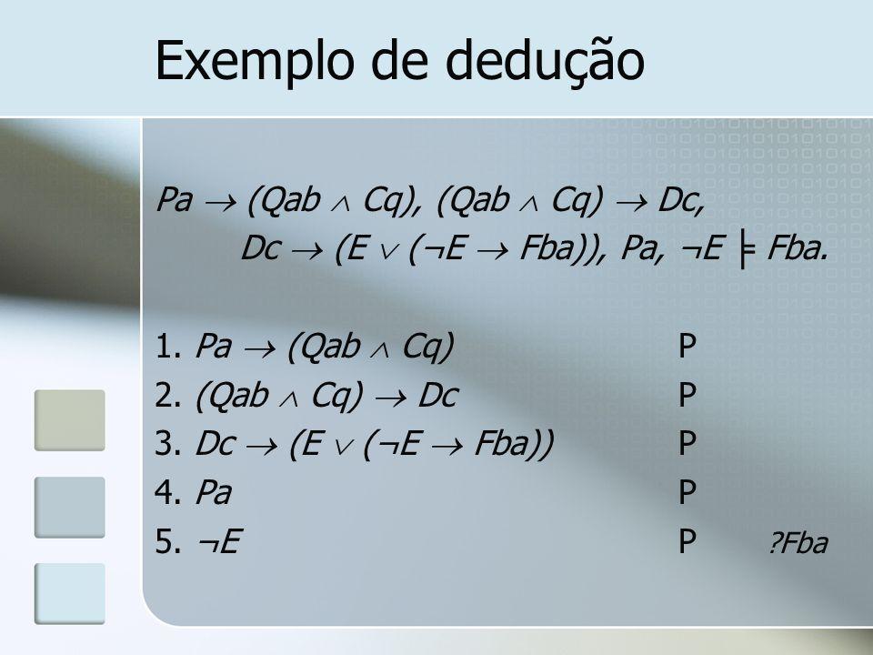 Exemplo de dedução Pa  (Qab  Cq), (Qab  Cq)  Dc,