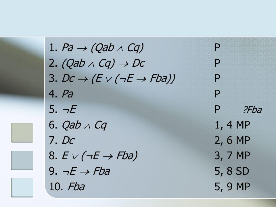 1. Pa  (Qab  Cq) P 2. (Qab  Cq)  Dc P. 3. Dc  (E  (¬E  Fba)) P. 4. Pa P. 5. ¬E P Fba.