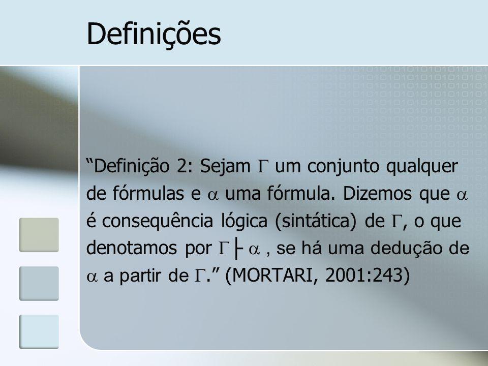 Definições Definição 2: Sejam  um conjunto qualquer