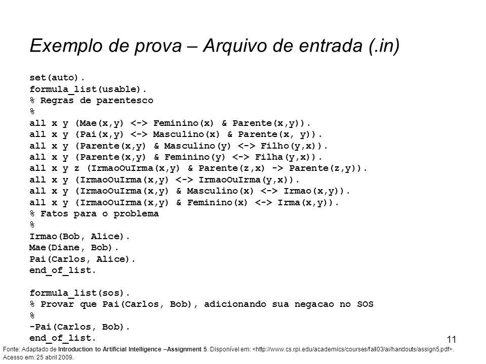 Exemplo de prova – Arquivo de entrada (.in)