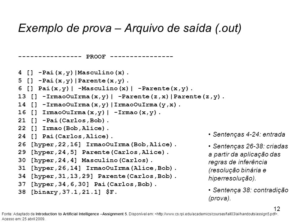 Exemplo de prova – Arquivo de saída (.out)