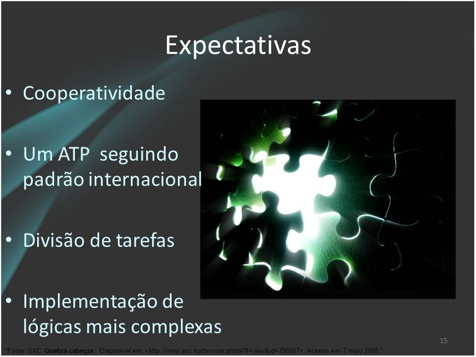 Expectativas Cooperatividade Um ATP seguindo padrão internacional