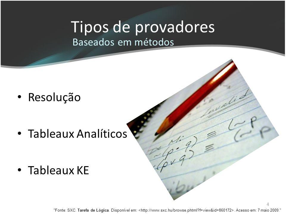 Tipos de provadores Resolução Tableaux Analíticos Tableaux KE