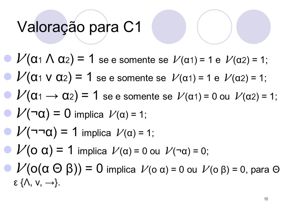 Valoração para C1 V (α1 Λ α2) = 1 se e somente se V (α1) = 1 e V (α2) = 1; V (α1 ν α2) = 1 se e somente se V (α1) = 1 e V (α2) = 1;
