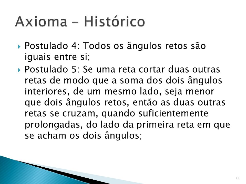 Axioma - Histórico Postulado 4: Todos os ângulos retos são iguais entre si;