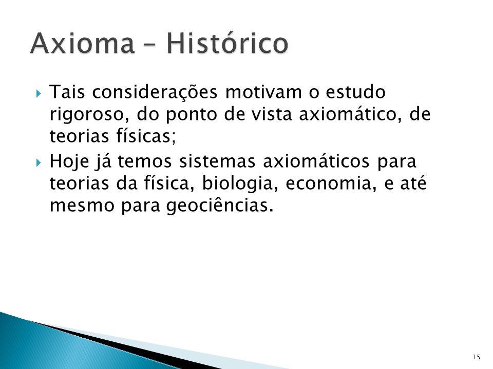 Axioma – Histórico Tais considerações motivam o estudo rigoroso, do ponto de vista axiomático, de teorias físicas;