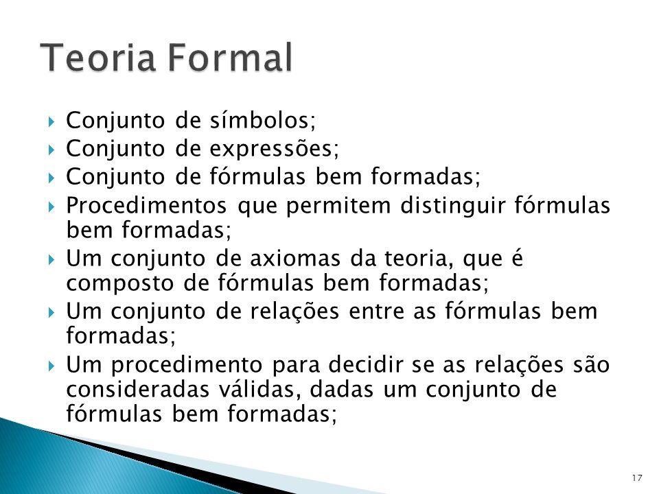 Teoria Formal Conjunto de símbolos; Conjunto de expressões;