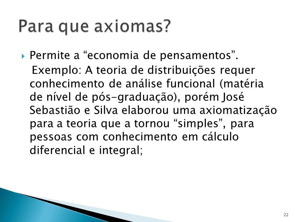Para que axiomas Permite a economia de pensamentos .