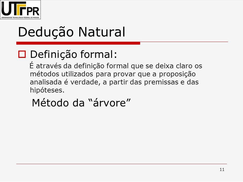 Dedução Natural Definição formal: Método da árvore