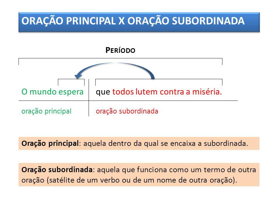 ORAÇÃO PRINCIPAL X ORAÇÃO SUBORDINADA
