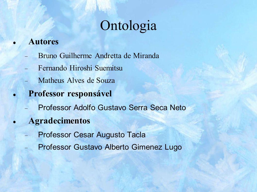 Ontologia Autores Professor responsável Agradecimentos
