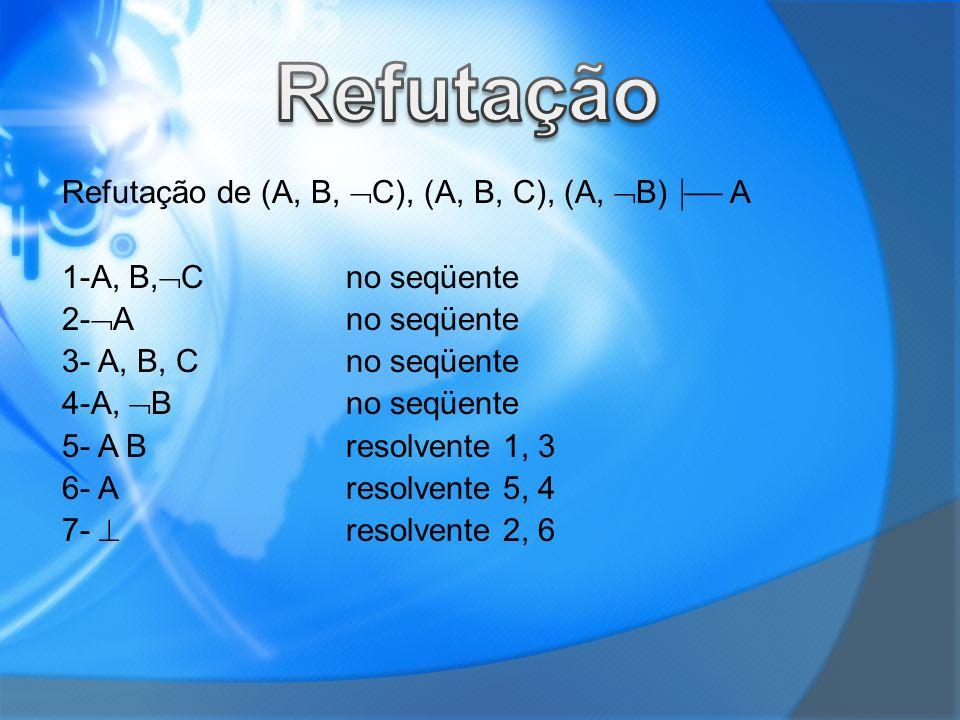 Refutação Refutação de (A, B, C), (A, B, C), (A, B)  A
