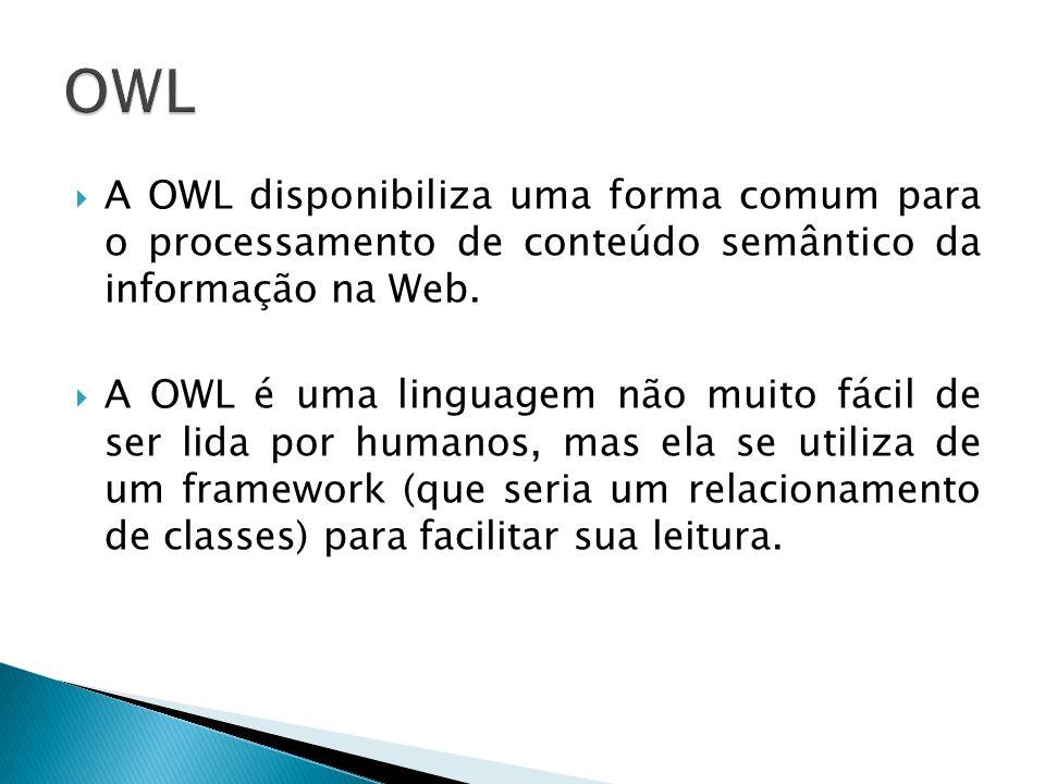 OWL A OWL disponibiliza uma forma comum para o processamento de conteúdo semântico da informação na Web.