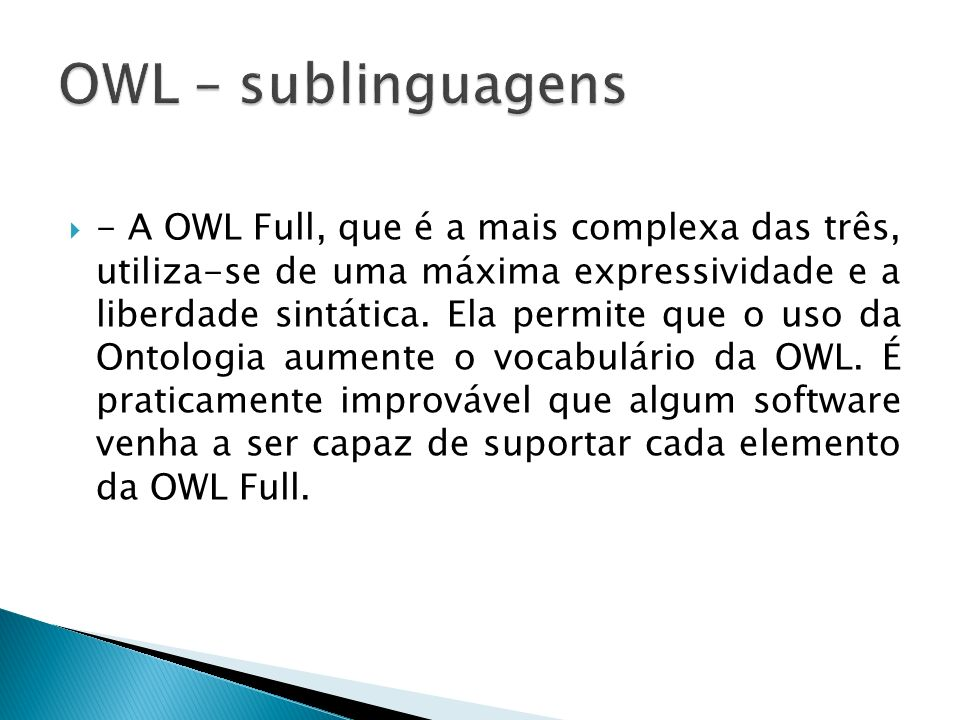 OWL – sublinguagens