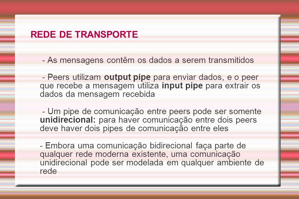 REDE DE TRANSPORTE - As mensagens contêm os dados a serem transmitidos