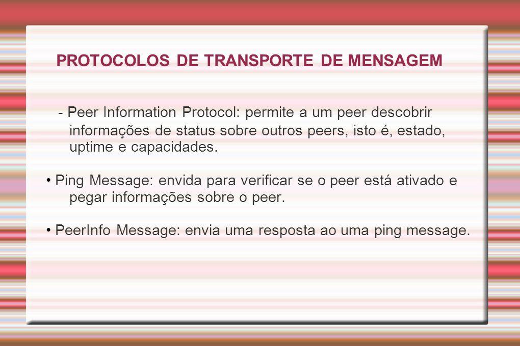 PROTOCOLOS DE TRANSPORTE DE MENSAGEM