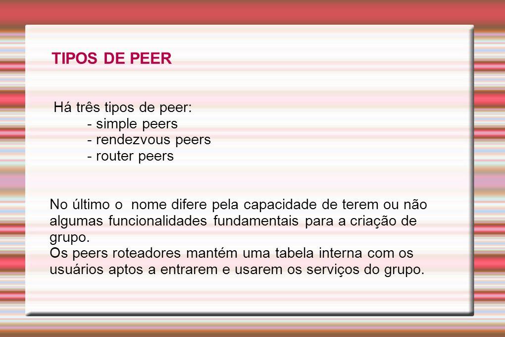 TIPOS DE PEER Há três tipos de peer: - simple peers - rendezvous peers
