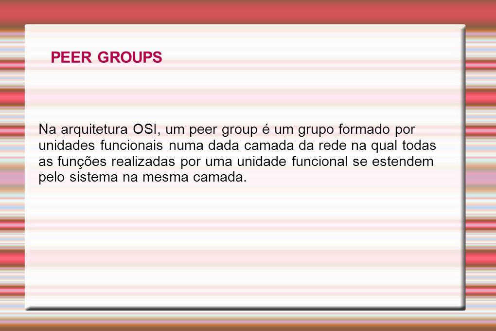 PEER GROUPS Na arquitetura OSI, um peer group é um grupo formado por