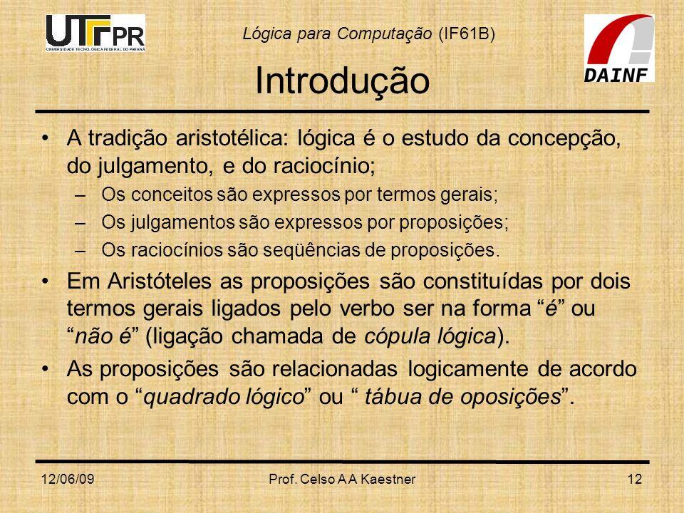 Introdução A tradição aristotélica: lógica é o estudo da concepção, do julgamento, e do raciocínio;