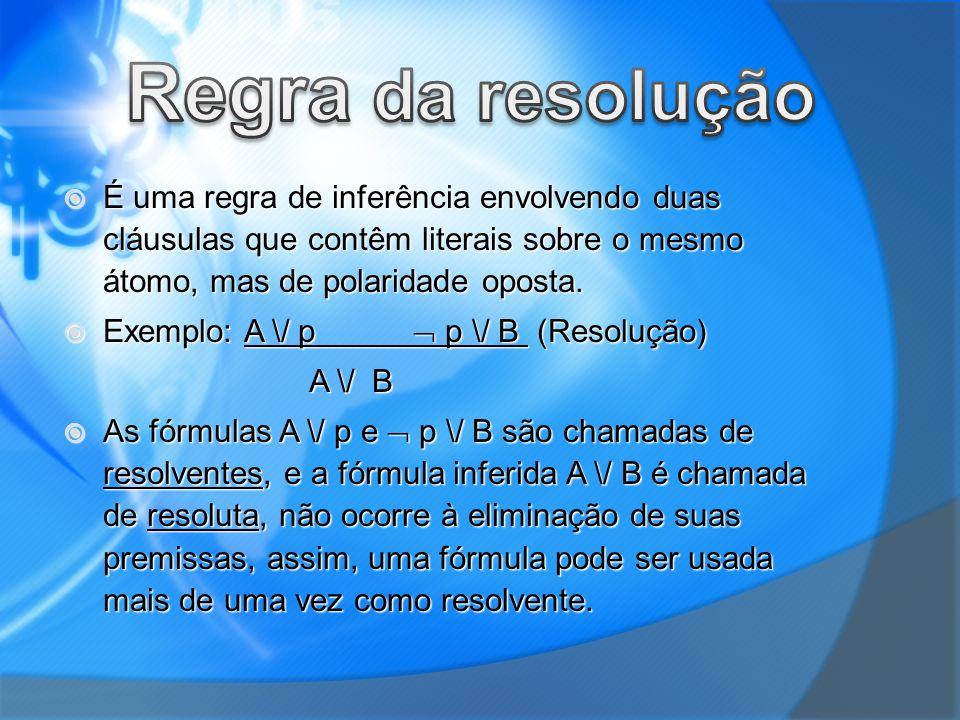 Regra da resolução É uma regra de inferência envolvendo duas cláusulas que contêm literais sobre o mesmo átomo, mas de polaridade oposta.