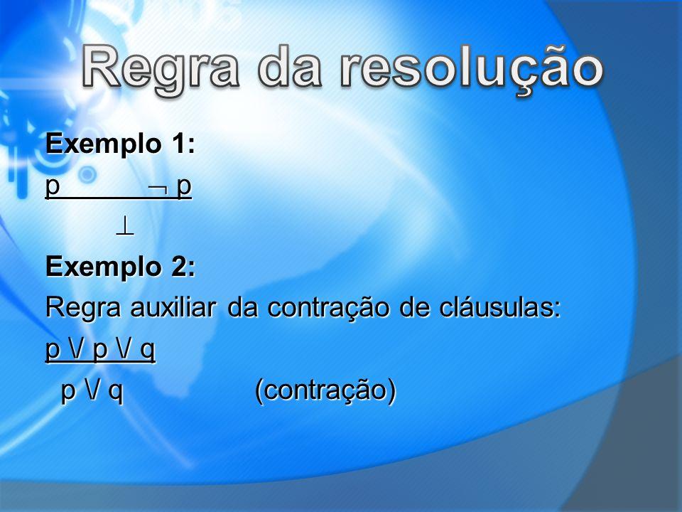 Regra da resolução Exemplo 1: p  p  Exemplo 2: